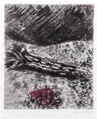 la chene et le roseau, pl. 12 (from la fontaine) by marc chagall