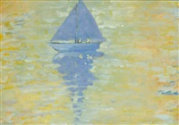blue boat, blue sail, roundstone, connemara by maurice macgonigal