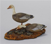 miniature carved birds (blue goose drake and hen with five goslings) by allen j. king