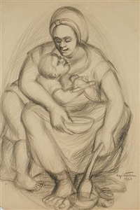 an akan mother and child by kofi antubam