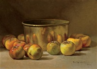 still life with apples and copper pot by william hubacek