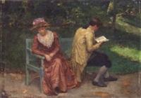 sharing a garden seat by louis-charles-auguste steinheil