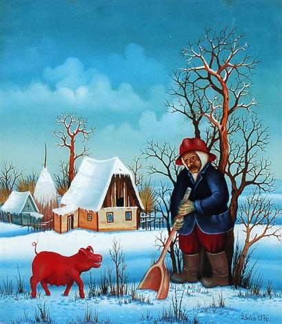 bauer mit rotem schwein im schnee by zeliko seles