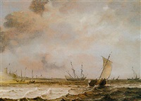 a dutch hoeker, a frigate and other shipping in choppy seas offshore by julius porcellis