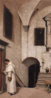 priest entering his office by domenico pesenti