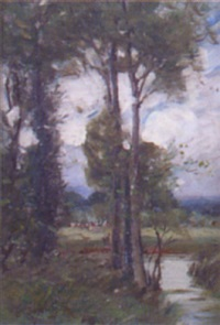 cattle grazing in a wooded river landscape by frances tysoe smith