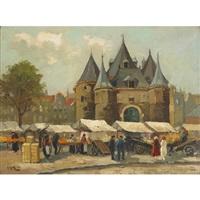 village market scene by h. endlich
