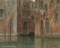 a gondolier on a venetian canal by joseph saint-germier
