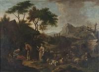 paesaggio con pastori al riposo presso un cascinale by francesco londonio