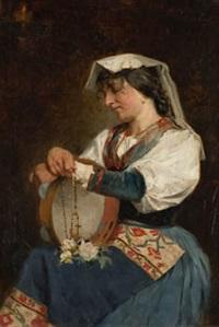 napolitana con rosario y rosas by josé garnelo y alda
