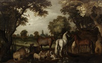 horses, cattle, sheep and goats beneath trees in the foreground by roelandt savery