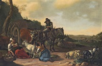 a pastoral landscape with a team of a horse and oxen drawing a wagon by gerrit adriaensz berckheyde