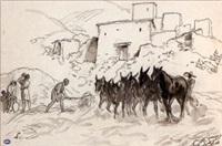 haut atlas, cheval et mulets sur une aire de battage by pierre lissac