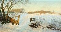 sunny winterscape by ludvig kabell