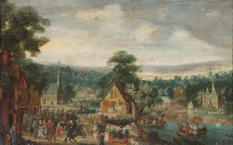 a kermesse in a village near a river by lucas van valkenborch