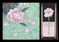 peony (+ rose in a glass (2 works in 1 frame) (+ moonlight), various sizes; 4 works) by kaoru kan