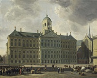 a view of the dam with the new town hall, the nieuwe kerk and the waag, amsterdam by gerrit adriaensz berckheyde