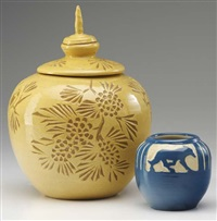 lidded vase carved by marie bentegeat thormodsgard (+ vase by julia mattson; 2 works) by merrimac pottery