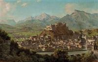 blick vom kapuzinerberg auf salzburg mit untersberg und tennengebirge by franz kulstrunk