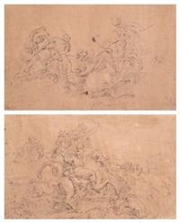 deux scènes de chasse animée (2 works) by charles parrocel