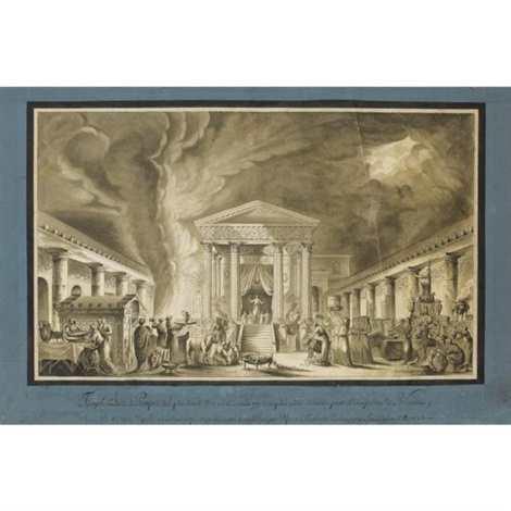a night time ceremony before the temple of isis pompeii by louis jean desprez