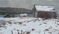 winter scene, outbuildings by a lake by allen smutylo