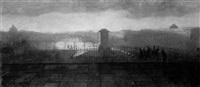 vue du louvre au soleil couchant by isidore dagnan