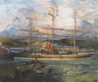 the grain ship, falmouth harbour by richard eurich