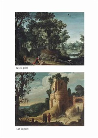 the good samaritan (+ the road to emmaus; pair) by paul bril