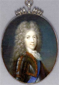 prince james francis edward stuart in gilt-studded armour and lace cravat, wearing the blue sash of the order of the garter, full bottomed powdered curling wig by jacques-antoine arlaud