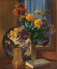 still-life with vase of flowers by george ayling