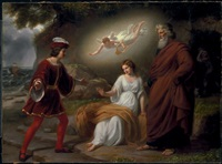 the meeting of ferdinand and miranda with prospero (from william shakespeare's the tempest) by william edward frost
