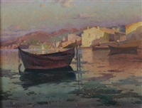 barques près d'un port by antoine ponchin