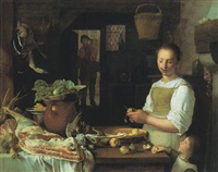 a kitchen scene with a maid and a young child peeling apples by jeremias van winghe