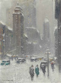 blizzard on lexington avenue, new york by guy carleton wiggins