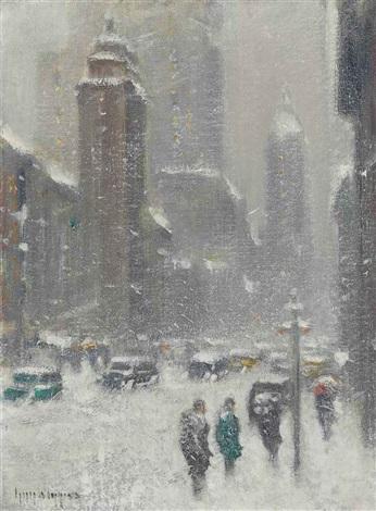 blizzard on lexington avenue, new york by guy carleton wiggins