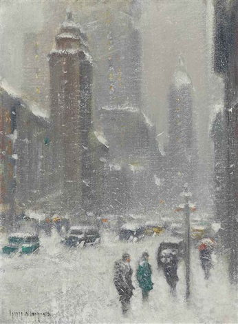 blizzard on lexington avenue new york by guy carleton wiggins