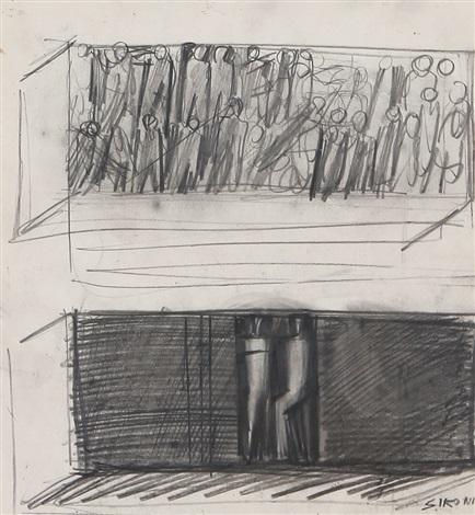 studio del salone del palazzo dei giornali di milano studio per due murali by mario sironi