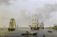 merchant ships and indiamen lying off the isle of dogs with smaller vessels in the river and greenwich hospital on the opposite bank by william anderson