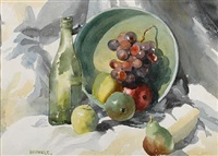 still life with grapes, apples and pears by clarence hinkle