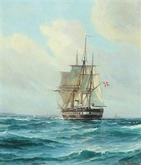 the frigate jutland by vilhelm victor bille