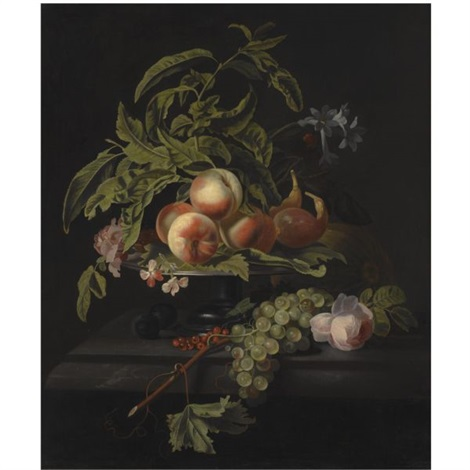 still life with peaches and figs on a pewter platter grapes and a rose on the marble ledge beneath by simon pietersz verelst