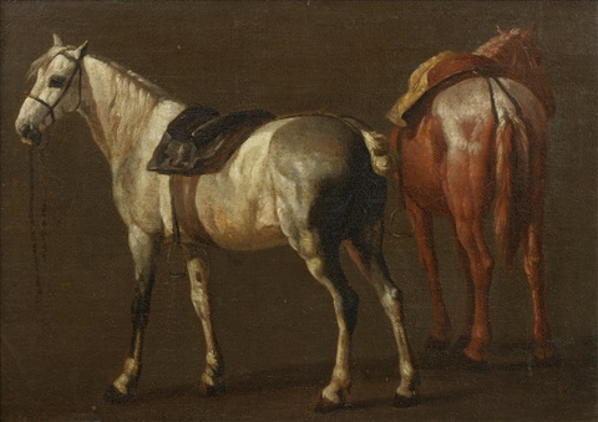 two horses by pieter van bloemen