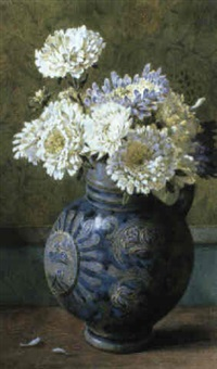 chrysanthemums in a stoneware jug by helen cordelia angell
