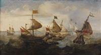 combat naval contre des turcs by andries van artvelt (ertvelt)