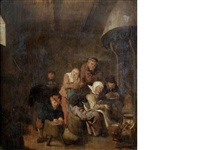 peasants drinking and smoking in a tavern by jan miense molenaer