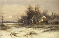 a) winterlandschaft mit untergehender sonne b) abend am waldesrand mit bach und brücke, sowie personenstaffage (pair) by louis apol