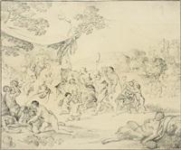 der triumph des bacchus, umgeben von mänaden, silenen und bacchanten by daniel vertangen