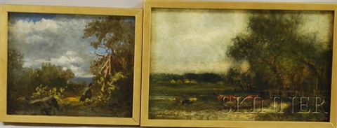 cows at pasture (+ 2 others; 3 works) by charles henry miller