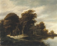 a wooded river landscape with figures outside a cottage by salomon rombouts